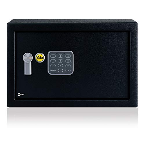 Yale YEC/200/DB1 Small Alarmed Value Safe, 130 db built in Alarm, Steel Construction, Steel Locking Bolts, Emergency Overide Key, Wall and Floor Fixings, Black, 8.6 Litre Capacity 20 x 31 x 20 cm