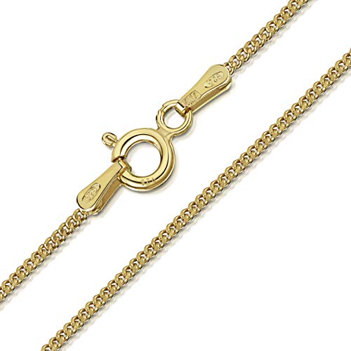 Amberta 18K Gold Plated on 925 Sterling Silver 1.3 mm Curb Chain Necklace Length 18