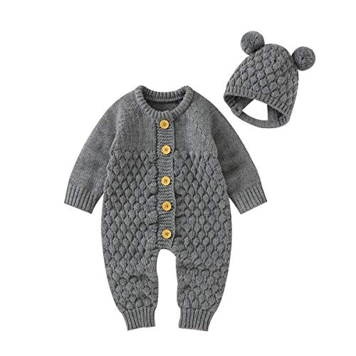 mimixiong Newborn Baby Rompers Knitted Sweater Jumpsuit Girls Boys Longsleeve Outfits with Warm Hat (Grey, 3-6 Months)