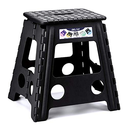 HOUSE DAY Folding Step Stool - 16 inch Height Premium Heavy Duty Foldable Stool for Adults, Kitchen Garden Bathroom Stepping Stool Black (1 Pack)