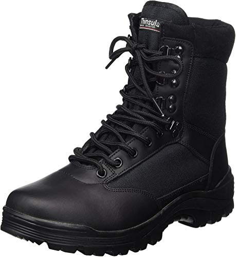 SWAT Mens Black Tactical Patrol Combat Police Security Army Leather Boots