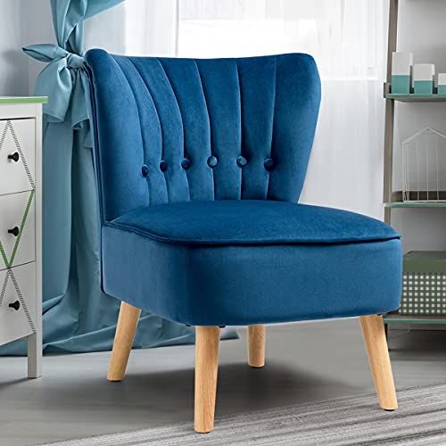 COSTWAY Velvet Accent Chair, Armless Side Dining Chair with Non-slip Pads, Modern Fabric Upholstered Padded Occasional Wingback Leisure Chair for Dressing, Lounge, Kitchen and Office (Blue)
