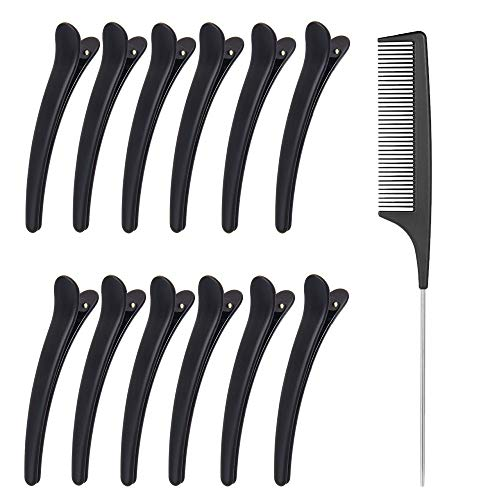 12pcs Sectioning Clips + 1pcs Antistatic Tail Comb, Hair Clamp Grips for Women Girls Hairdressing Styling Salon Tool (Clips & Comb Set)