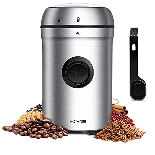 KYG Coffee Grinder 25000rpm Powerful Motor Electric Coffee Grinder 80g Capacity Safety Lock with 304 Stainless Steel Blades 55dB Low Noise Portable for Coffee Beans, Nuts, Spices, Grain