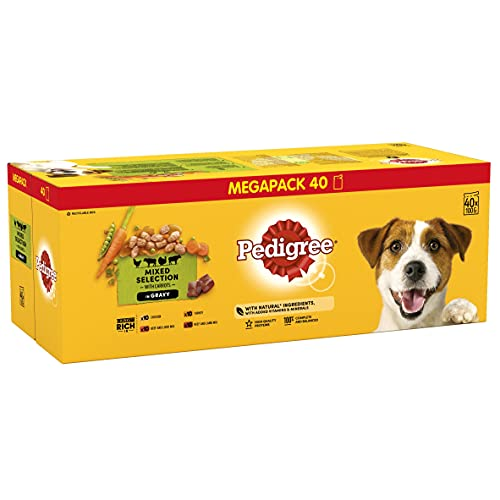 Pedigree Adult Wet Dog Food Pouches Mixed Selection in Gravy 40 x 100 g Mega Pack