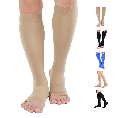 TOFLY Compression Stockings (Pair), Medical Grade Firm Support 20-30mmHg, Opaque, Unisex, Open Toe Knee High Compression Socks for Varicose Veins, Edema, Shin Splints, Nursing, Travel, Beige M