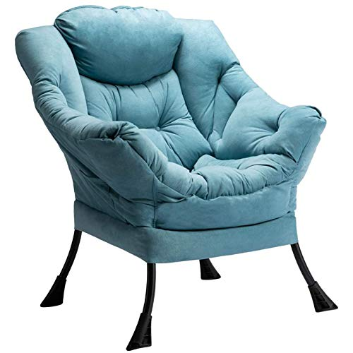 HollyHOME Armchair Accent Chair Lazy Chair Modern Fabric Relax Lounge Chair Sofa Chair with Steel Frame, Blue
