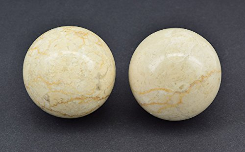 MM PAIR OF LARGE CHINESE STYLE BAODING EXERCISE BALLS - CREAM MARBLE, 6cm (60mm)