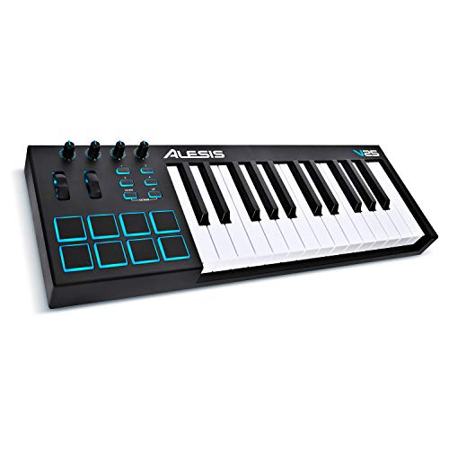 Alesis V25   25-Key USB MIDI Keyboard Controller with Backlit Pads, 4 Assignable Knobs and Buttons, Plus a Professional Software Suite with ProTools   First Included