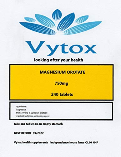 Magnesium Orotate (750mg) 240 Tablets, 8 Months suopply, by vytox, Vegetarian