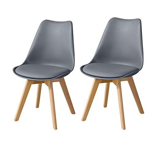 TUKAILAI 2PCS Modern Grey Dining Chairs with Solid Wood Legs Lounge Chairs Kitchen Chairs Chairs Set of 2 Dining Room Furniture