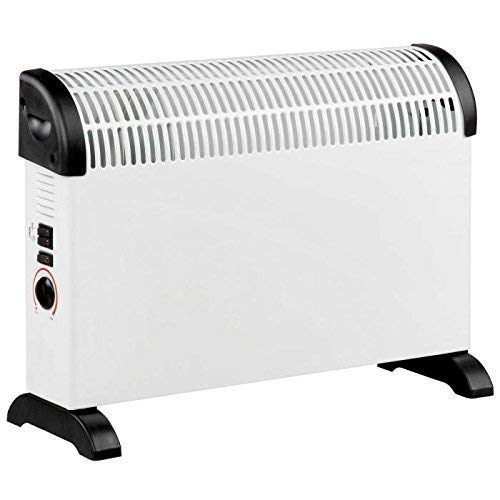 Daewoo Free Standing Bedroom/Kitchen 2000W Convector Heater with 3 Heat Settings, Safety Cut-Out Function with Thermostat Dial - White
