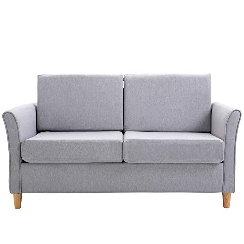 HOMCOM 2-Seater Sofa Double Seat Compact Loveseat Couch Living Room Furniture with Armrest Grey