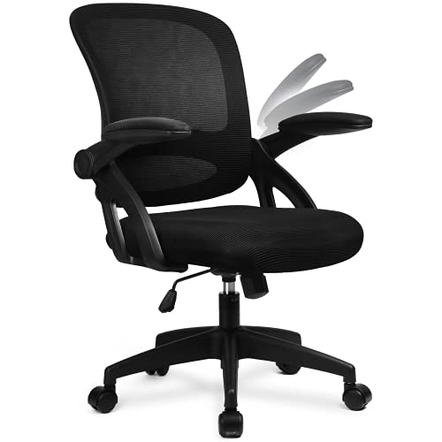 COMHOMA Desk Chair Office Chairs 90° Flip-up Armrest Ergonomic Computer Chair Lumbar Support Height Adjustable 360° Swivel Rocking Function Mesh Back Seat For Home Office - Black