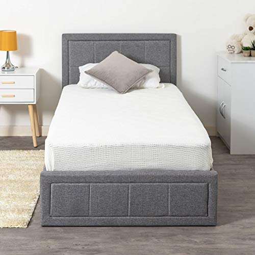 Home Treats Upholstered Bed Single | Ottoman Bed Frame | Grey Fabric Bed Frame With Storage (Single, No Mattress)