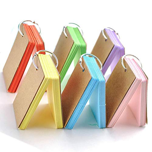 Flash Cards, 6 Pack 300 Pcs Study Cards Revision Cards Index Cards Kraft Paper Memo Scratch Pads with Metal Binder Ring, Multicolor, 6 Colors