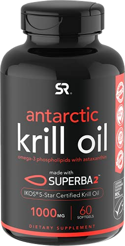 Sports Research Antarctic Krill Oil (Double Strength) 1000Mg with Omega-3S Epa, Dha and Astaxanthin   60 Liquid Softgels - 2 Month Supply
