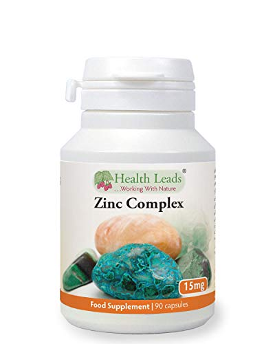 Zinc Complex 15mg 90 Capsules, Without Magnesium Stearate, Zinc contributes to The Normal Function of The Immune System & to The Maintenance of Normal Skin, Hair & Nails, Made in Wales