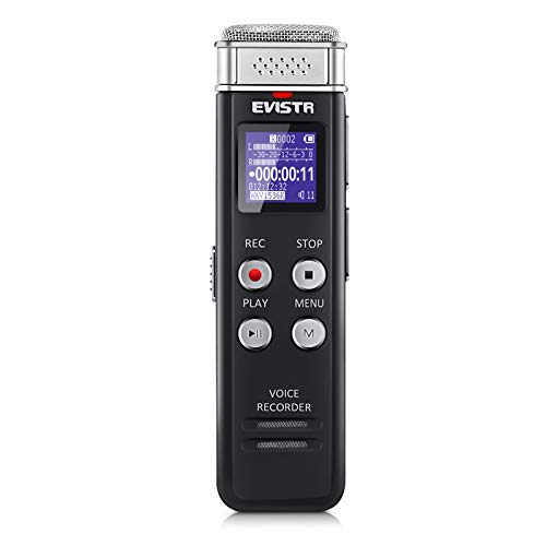 Digital Voice Recorder with Voice-Activated Recording and Playback - EVISTR L157 16GB USB Rechargeable Dictaphone | Dictation Machine with MP3 Player
