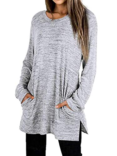 Famulily Ladies Tunic Tops Casual Wear Long Sleeve Tshirts Grey Xl