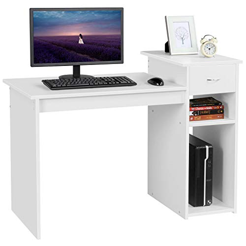 Yaheetech Home Office Small White Computer Desk Compact Study PC Laptop Table Workstation w/Drawer and Shelf