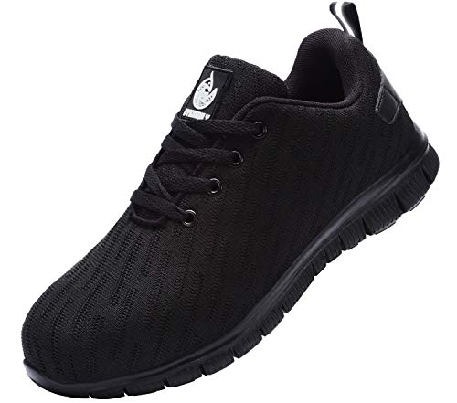 DYKHMILY Lightweight Safety Shoes Men Women Work Trainers D-03 Steel Toe Caps Sport Sneakers(Black,9 UK)