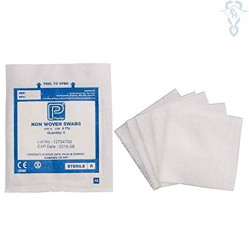 Premier Non-Woven Swabs, Sterile, 4 ply, 10cm x 10cm, 5 / Pouch, Pack of 25 (1870)