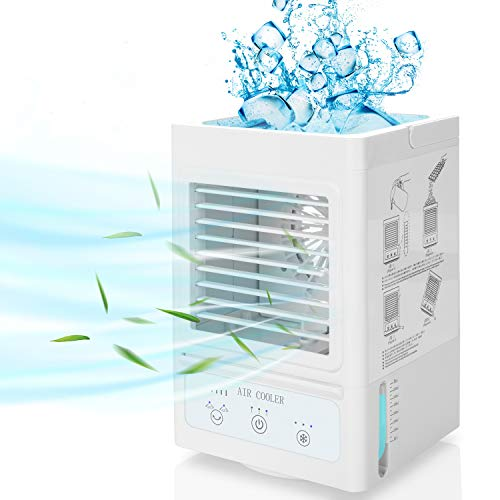 Portable Air Cooler Unit Mobile Air Conditioner 5000mAh Rechargeable Battery 60°/120°Auto Oscillation Evaporative Cooler Humidifier Purifier Spray Personal Air Cooling Fan for Bedroom Office Desk Dorm