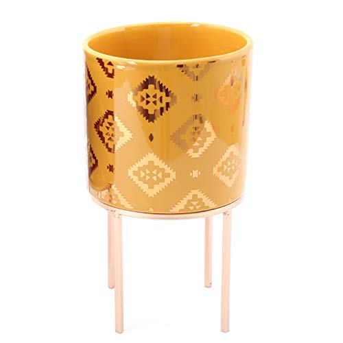 Carousel Home Gifts 12cm Kasbah Planter Cache Pot   Indoor Ceramic Cache Plant Pot With Stand   Decorative Cachepot Planter - Yellow