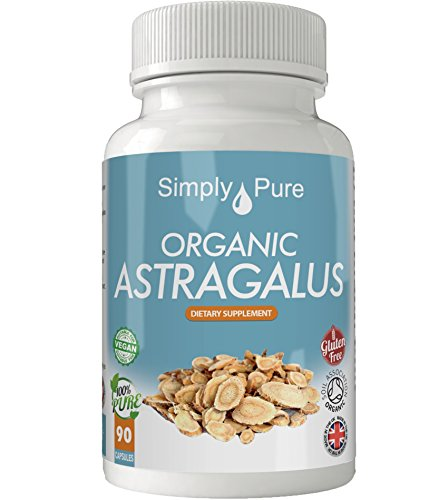 Simply Pure Organic Astragalus Capsules x 90, 500mg, 100% Natural Soil Association Certified, Gluten Free, GM Free and Vegan.