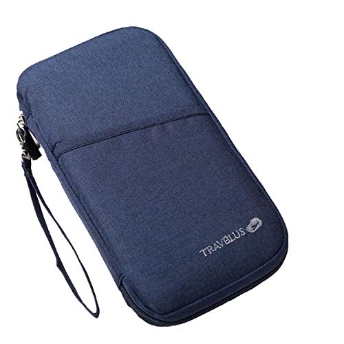 Passport Holder Pouch, Travel Wallet Organiser Case Credit Cards Ticket IDs Document Smartphone Bags for Men and Women - with Removable Wristlet Strap (Navy Blue)