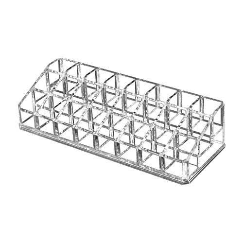 OKVGO Clear Acrylic Lipstick Organizer for Cosmetic Make Up Holder Crystal 24 Sections