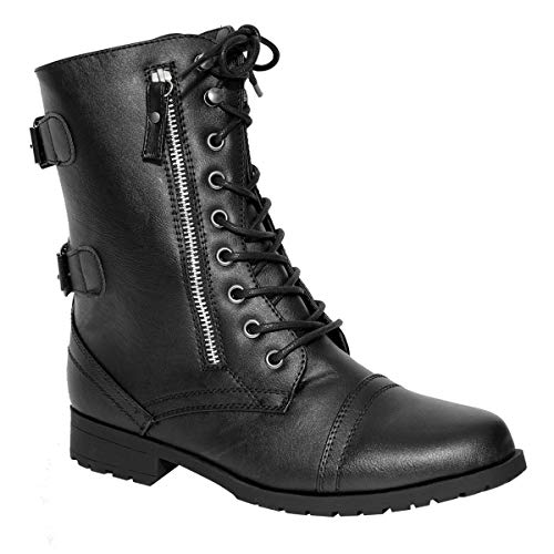 Womens Ladies Army Combat LACE UP Grunge Military Biker Punk Goth Ankle Boots (UK 5, Black Faux Leather)