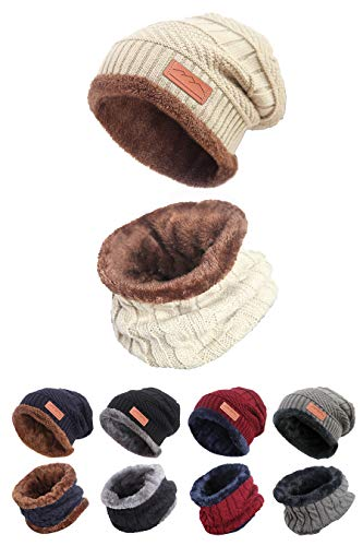 STYLE SLICE Fleece Lined Hat and Scarf Sets Mens Womens Unisex Knitted Beanie Circle Loop Infinity Scarfs Neck Warmer Black Red Cream Grey Blue Ski Snowboard Warm Winter Mens Scarf