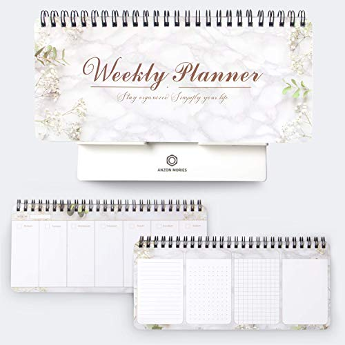Portable Weekly Planner v.6 with a Removable Stand – 53 Sheets 9x4 inch Spiral Undated Scheduler Pad, Desk Daily Calendar, to Do List, Meal Notebook Notepad, School Lesson Plan, Appointment Book