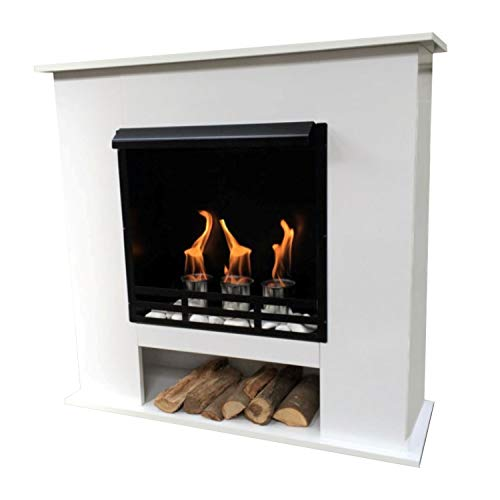 Ethanol and Gel Fireplace Model 001W Including 27 Pieces Set - Choice of Colours (White)