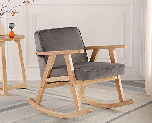 Wahson Retro Rocking Chair Velvet Armchair with Solid Wood Legs, Leisure Relax Chair for Living Room/Bedroom/Balcony (Grey)