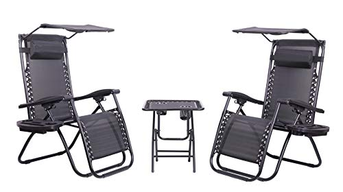 Olsen & Smith Valencia 3 Piece Zero Gravity Reclining Garden Patio Deck Chair Sun Lounger Set, 2 Chairs with Tray & Canopy Accessories & Table, Black