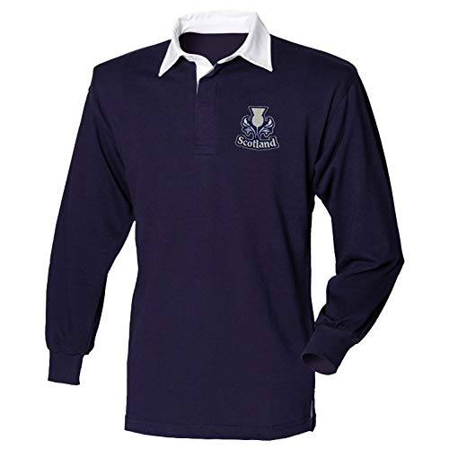 Scotland Scottish Adults Long Sleeve Rugby Shirt Exclusive Retro Vintage Mens Womens Unisex Shirt, Great for Any Scottish Rugby Fans for 6 Nations and World Cup (XX-Large) Blue