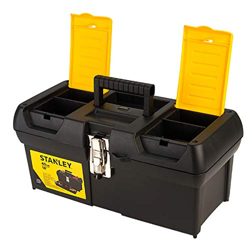 STANLEY Toolbox with Metal Latch, 2 Lid Organisers for Small Parts, Portable Tote Tray for Tools, 16 Inch, 1-92-065