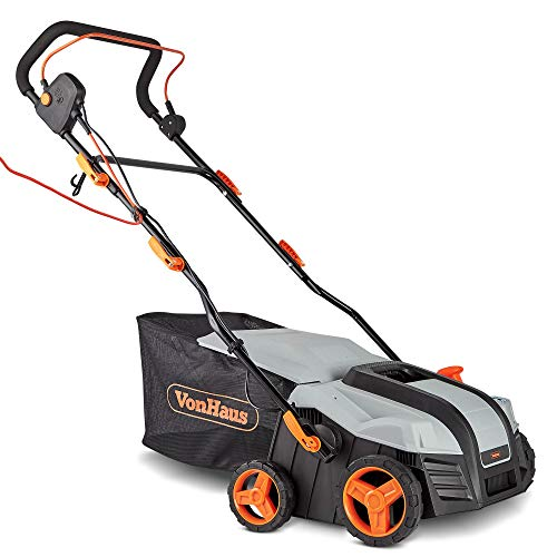 VonHaus 2 in 1 Lawn Scarifier - 1800W Electric Garden Rake with 5 Depth Settings & 55L Collection Box - for Year Round Lawn Maintenance