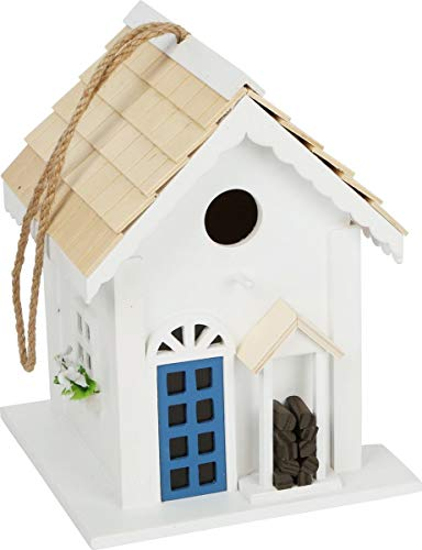 Wooden Birdhouse Country Cottage Style For Hanging Up, Decorative Nesting Box For The Garden