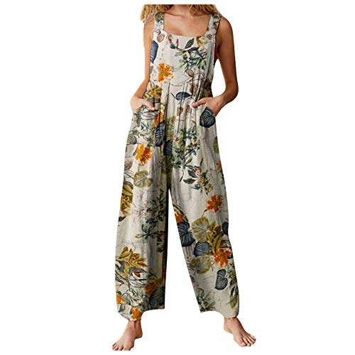 L&ieserram Womens Casual Suspender Overall Dungarees Summer Boho Loose Wide Leg Jumpsuits Plus Size Floral Playsuit Baggy Long Romper Pants with Pocket (A-Yellow-A, Small, s)