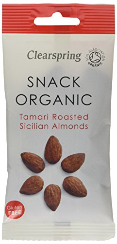 Clearspring Organic Tamari Roasted Sicilian Almonds Snack, 30g (Pack of 15)