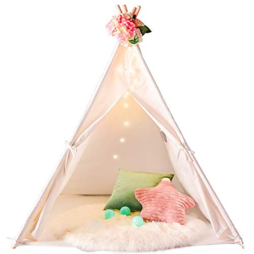 SweHouse Teepee Kids Play Carry Case,Toys for Girls/Boys Indoor and Outdoor, Natural Cotton Canvas Children Indian Tipi Tent (White)