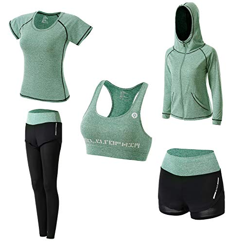 Women's 5pcs Yoga Suit Sportsuits Running Jogging Gym Workout Outfit Women's Activewear Sets Sport Yoga Fitness Clothing