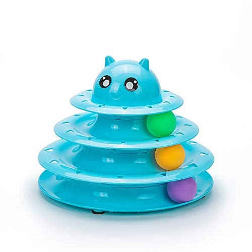Vealind Pet Interactive Fun Roller Exerciser 3 Level Cat Teaser Ball Toy with 3 Colorful Balls(Blue)