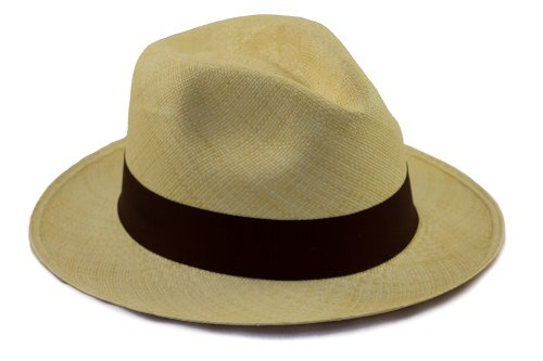 Genuine Panama Hat - Fedora Shape - Rollable/Foldable - Natural Colour with Brown Trim - Size 62cm