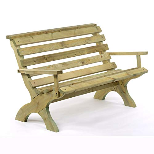 BrackenStyle Lily Park Bench (With Arms) - Durable Pine Park Seat - Dip Treated Scandinavian Pine 3 Person