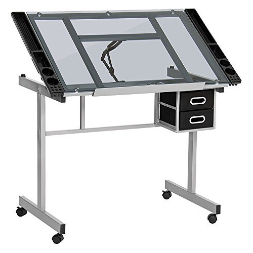 display4top Tiltable Tabletop Drawing Board Table Art Craft Drafting Easel Desk (heavy-duty powder coated steel and 6mm thick tempered clear glass)